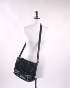 Moda Pelle Black Leather Satchel Bag