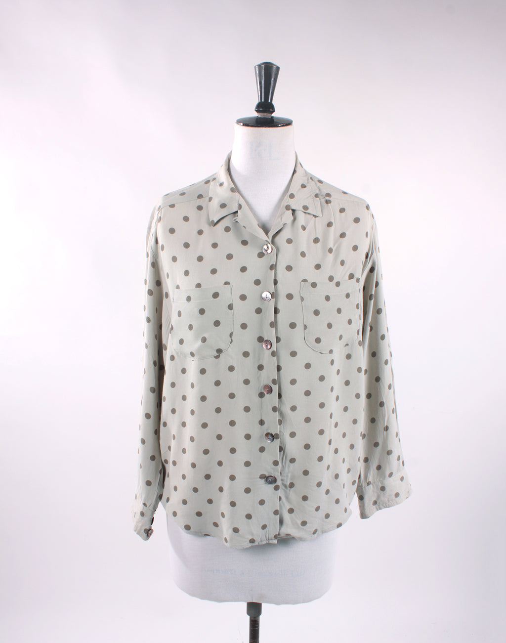 Vintage 80's Grey Polka Dot Country Road Long Sleeve Shirt