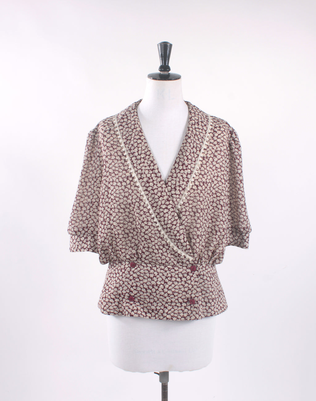 Vintage 80's Brown Floral Frill Blouse