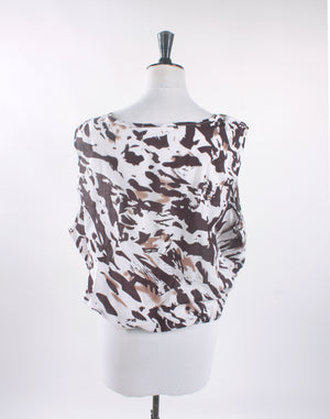 Brown and White Cotton Crop Blouse