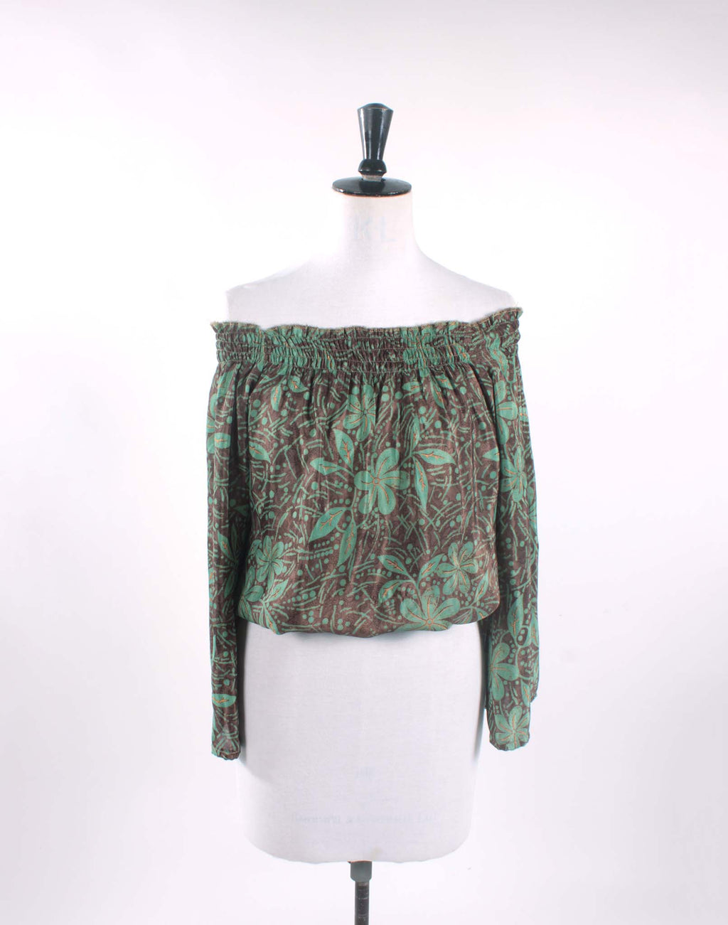 Green Floral Boho Crop Blouse