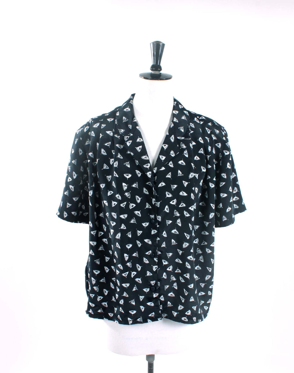 Vintage 80's Black Triangle Shirt Blouse