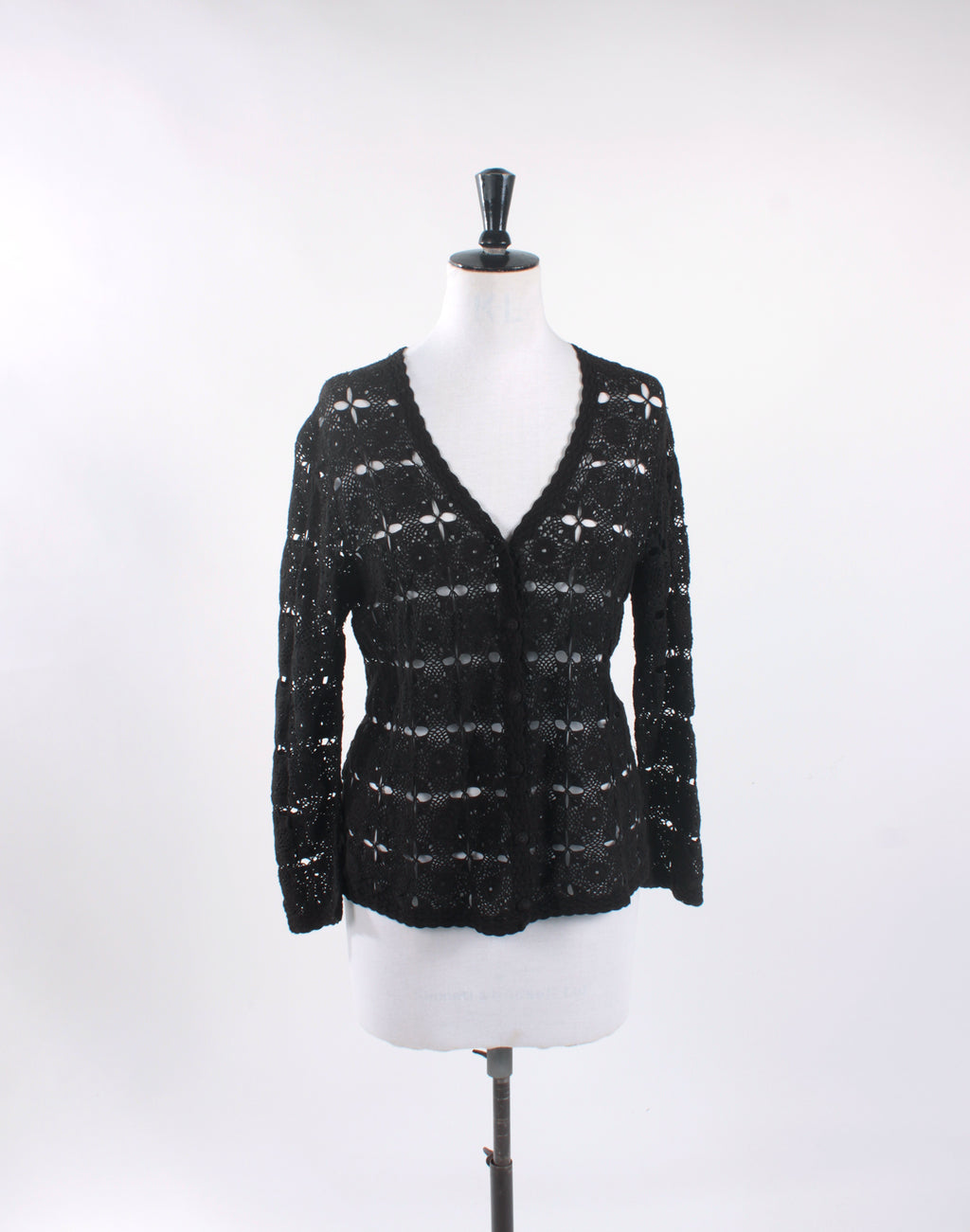 Vintage 60's Black Cotton Lace Cardigan