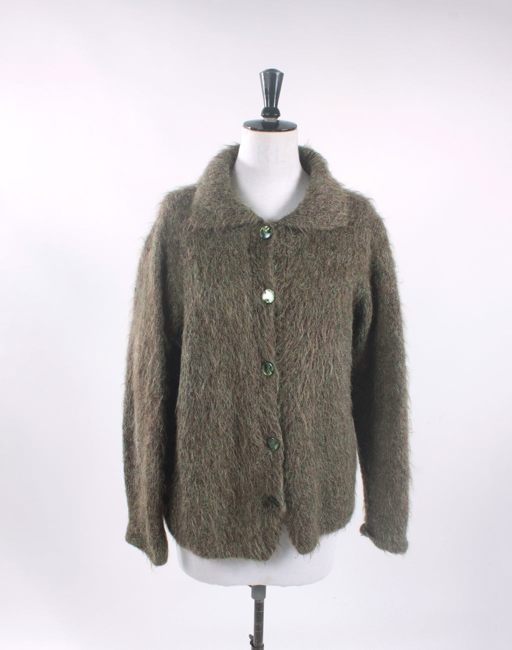 Sage Green Mohair Fluffy Cardigan