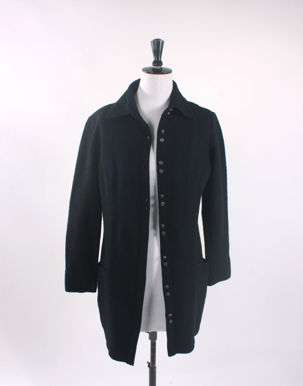 Black Wool Skull Button Jacket