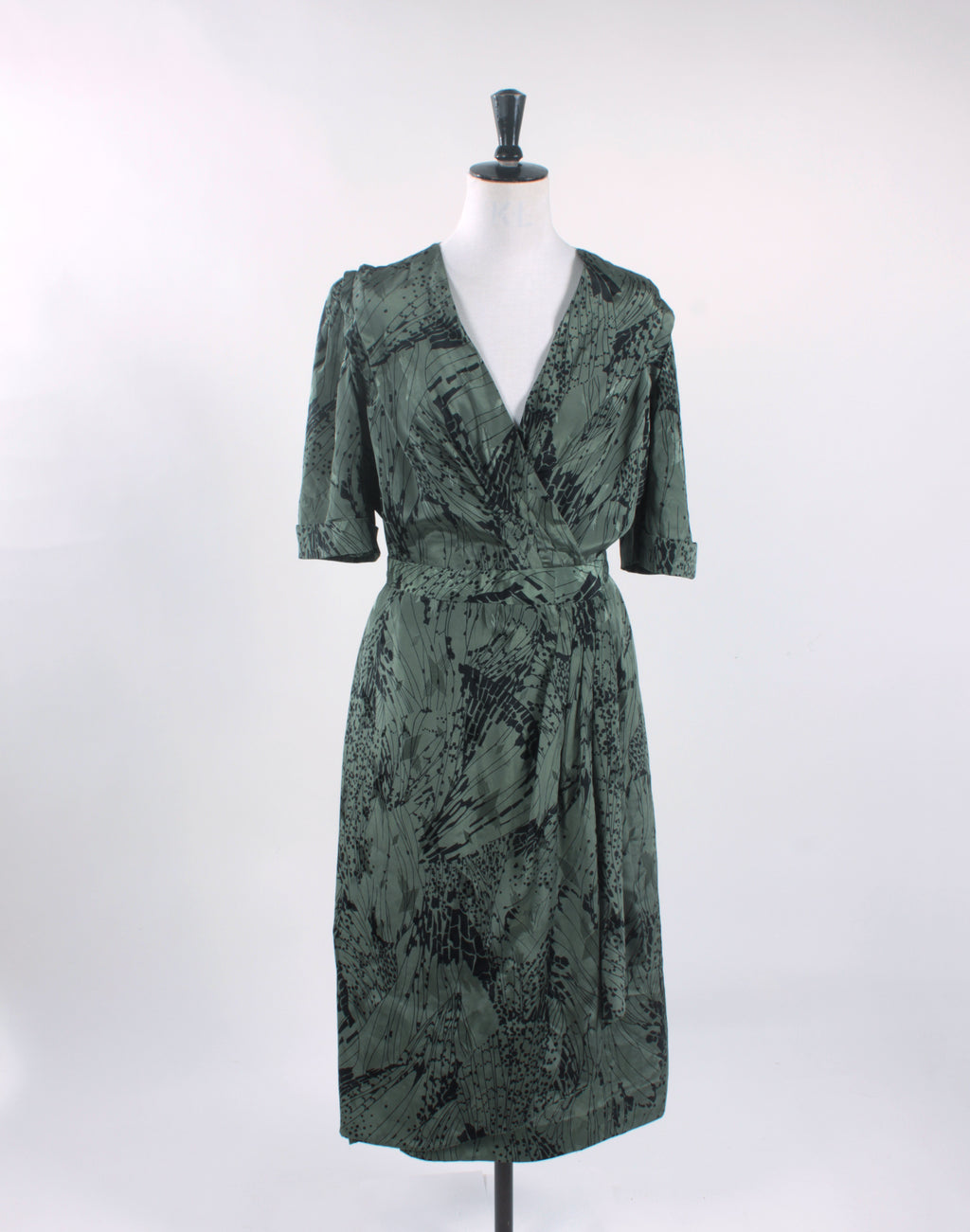 Vintage 80's Green Satin Wrap Midi Dress