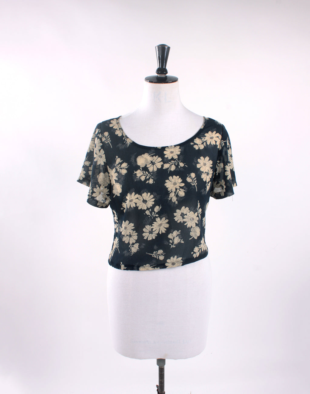Vintage Upcycled Navy Blue Floral Chiffon Crop Top