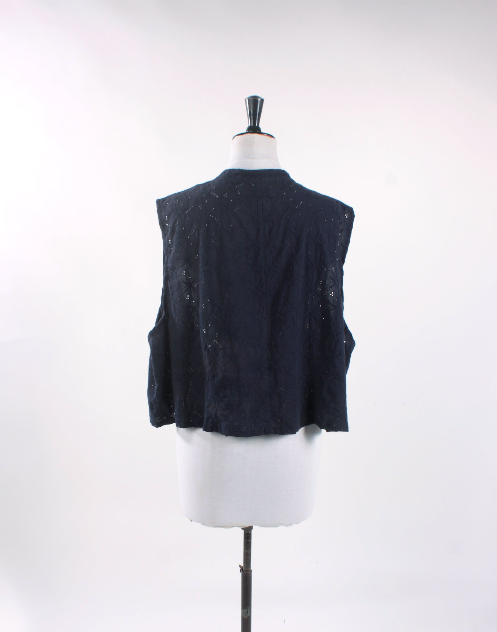 Vintage Upcycled Navy Blue Embroidery Anglais Crop Shirt