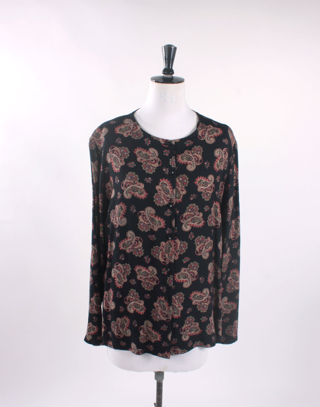Vintage 90's Black Brown Paisley Long Sleeve Shirt