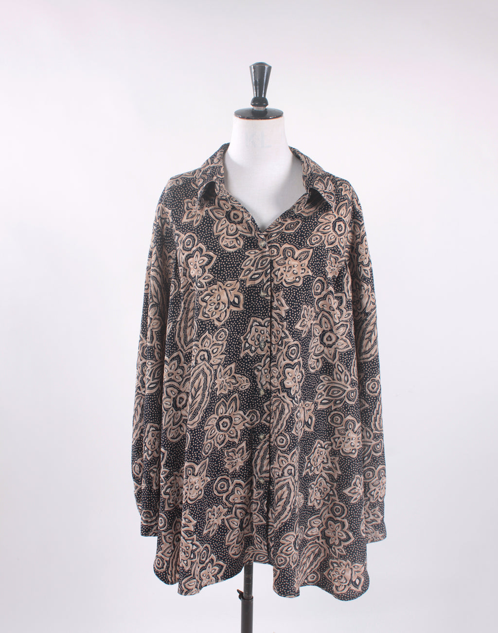Vintage 80's Navy Brown Floral Oversize Long Sleeve Shirt