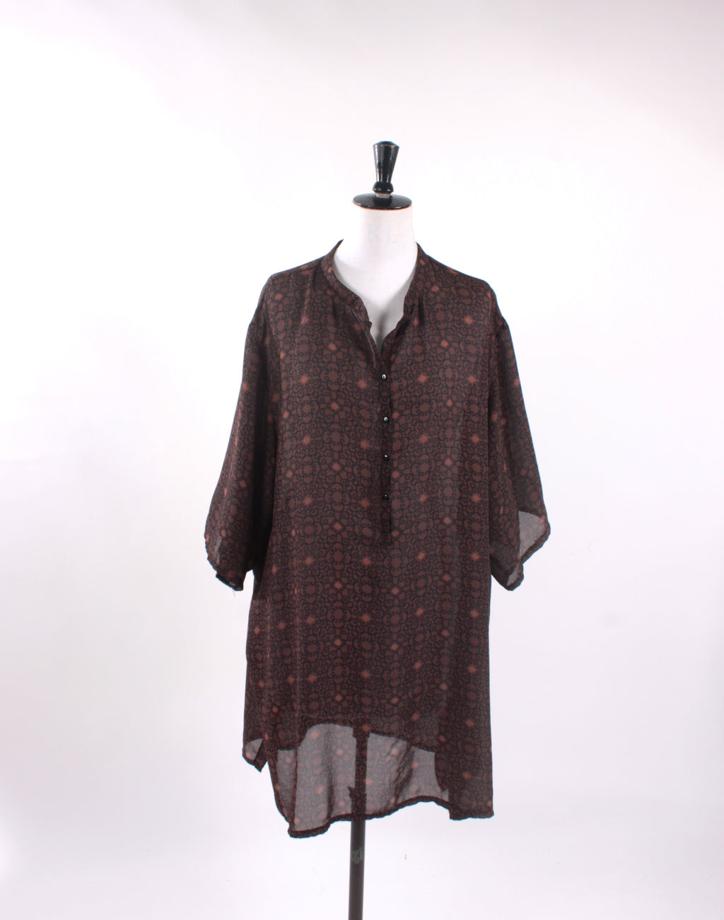 Vintage 90's Brown Black Oversize Tunic Top