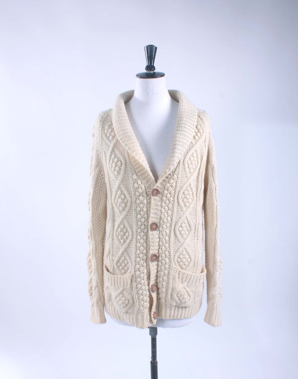 Vintage 70's Pure Wool Aran Cable Knit Cardigan - Size M