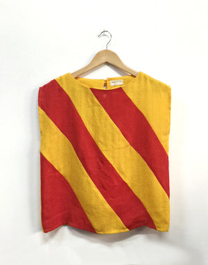 Vintage 60's Muguet D'ann Red Yellow Boxy Top