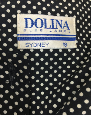 Vintage 80's Black & White Dolina Polka Dot Dress