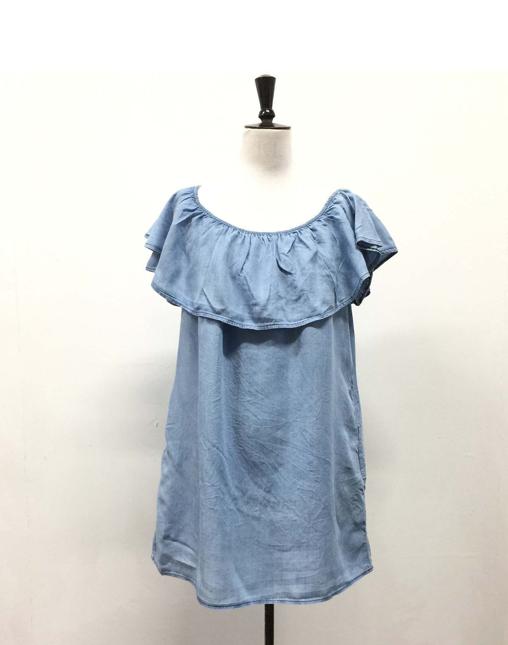Senes French Denim Off Shoulder Dress - Size 12