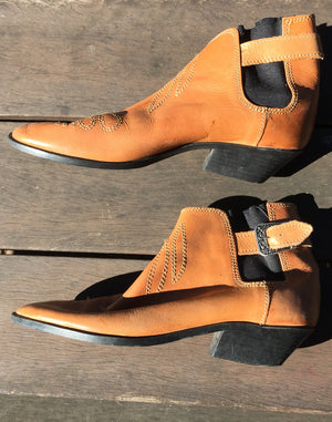Vintage 90's Tan Mustard Ankle Boots