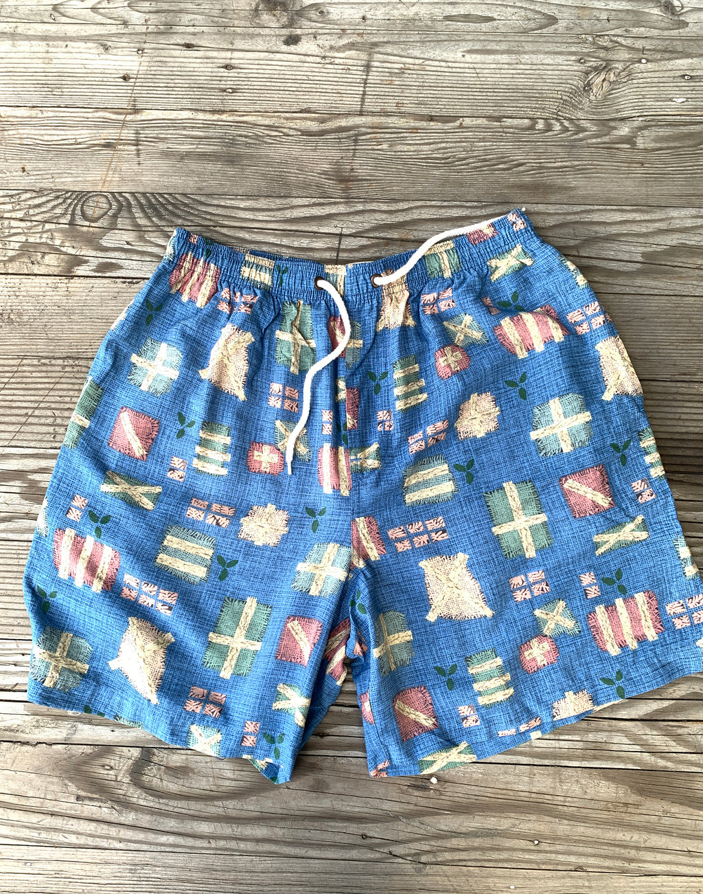 Vintage Country Road Blue Print Shorts