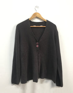 Chunky Grey Ribbed Swing Cardigan