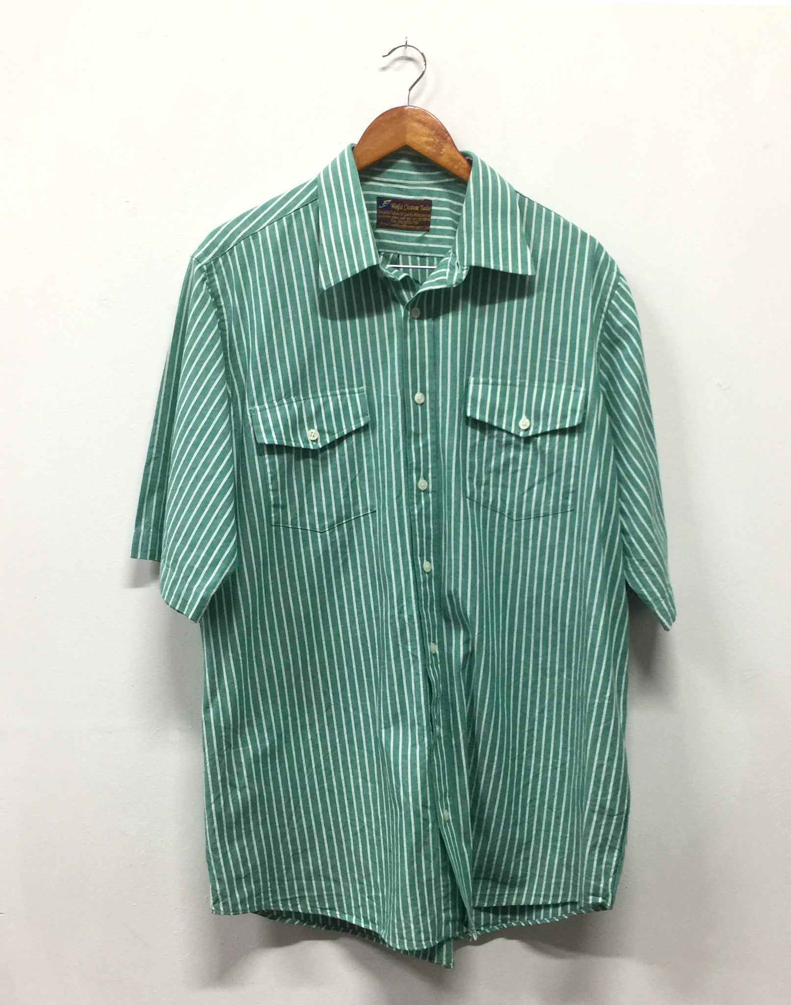 Vintage 80's Oversize Mens Green Stripe Cotton Shirt