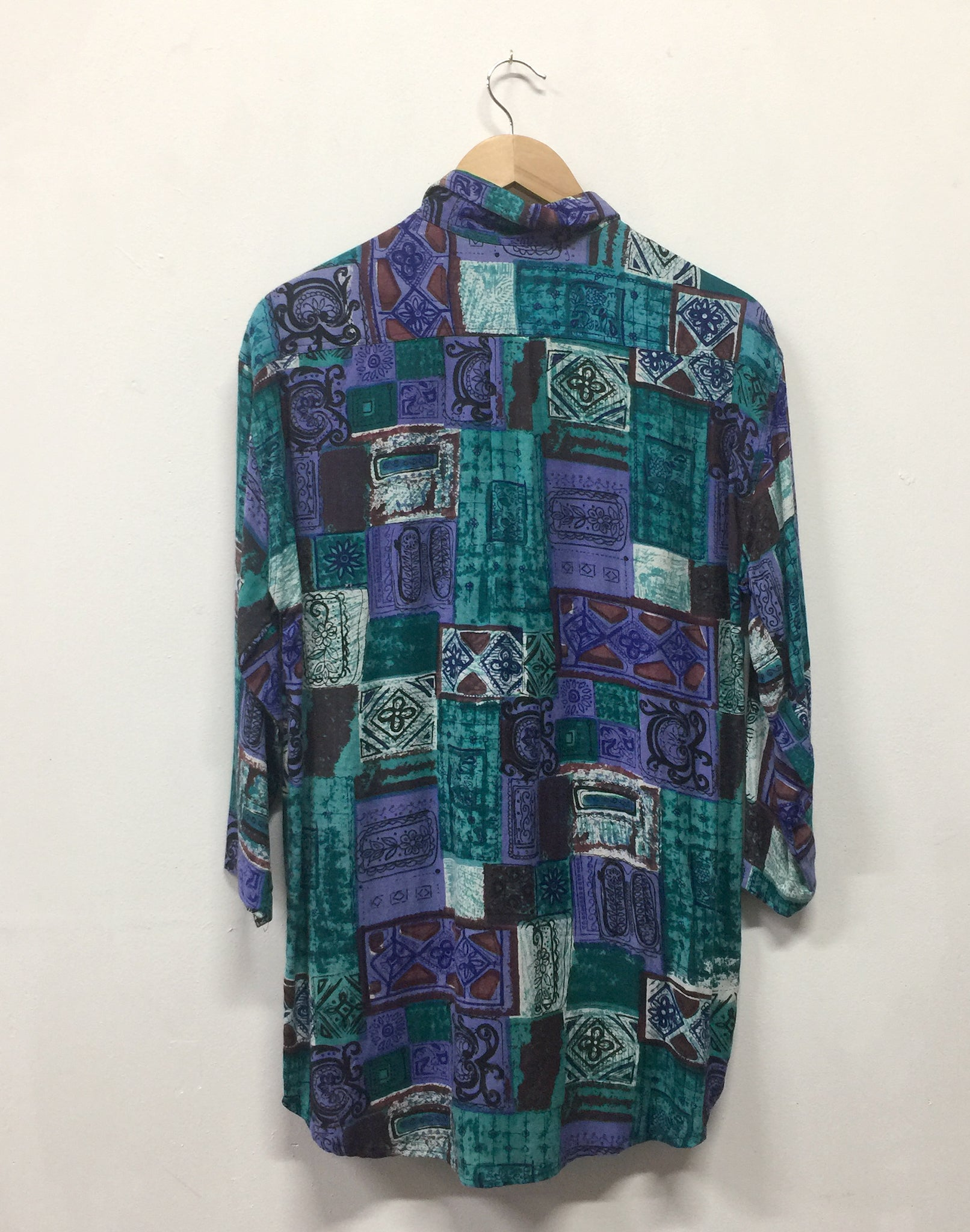 Vintage 90's Oversize Mens Purple Green Print Shirt