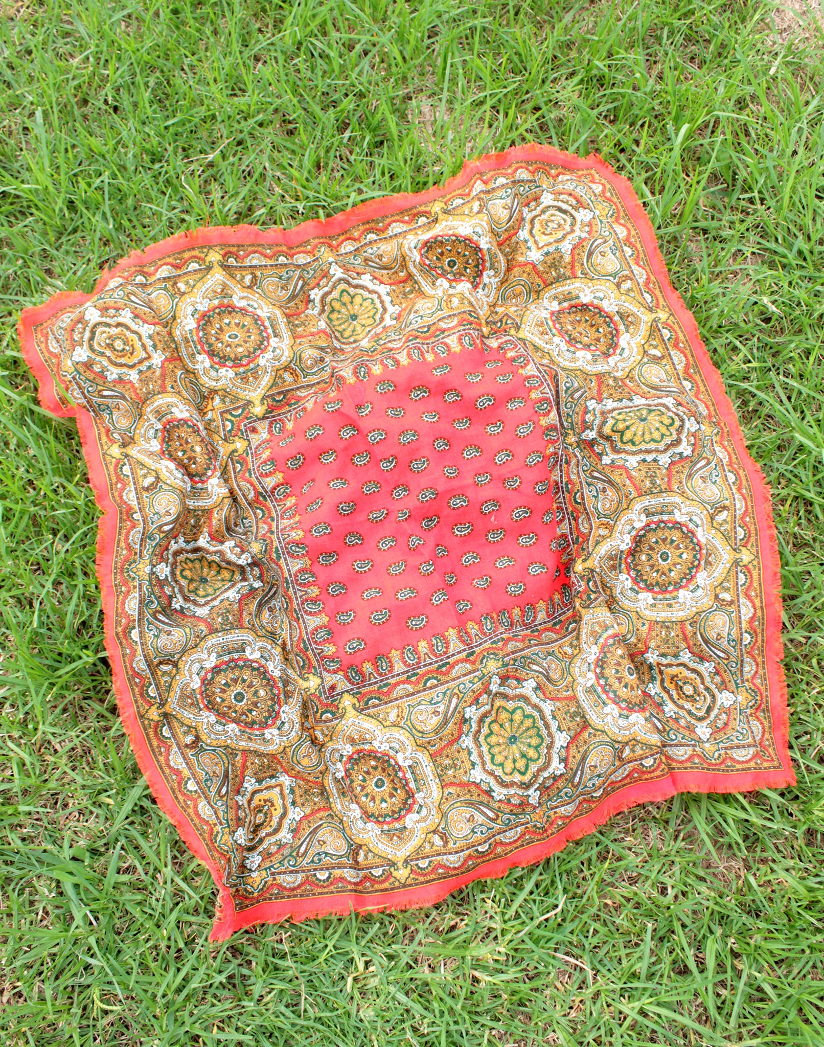 Red Paisley Vintage Scarf