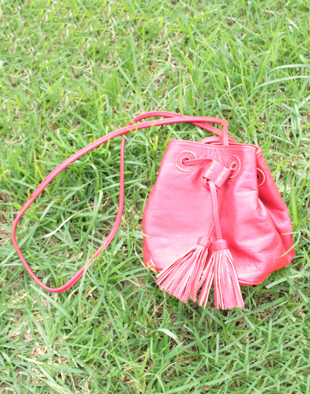 Red Leather Drawstring Bag