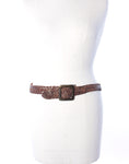 Dark Brown Plaited Leather Belt
