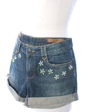 Embroidered Denim Daisy Shorts