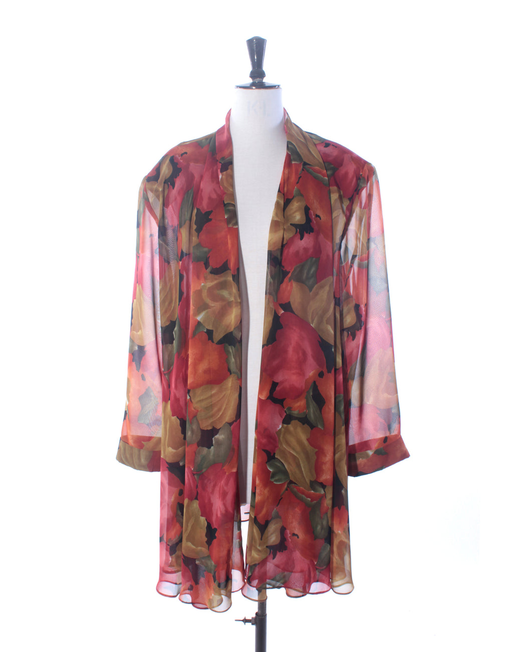 Rust Floral Oversize Shirt Jacket