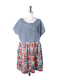 Blue Check Patchwork Cotton Collector Dress - Size L