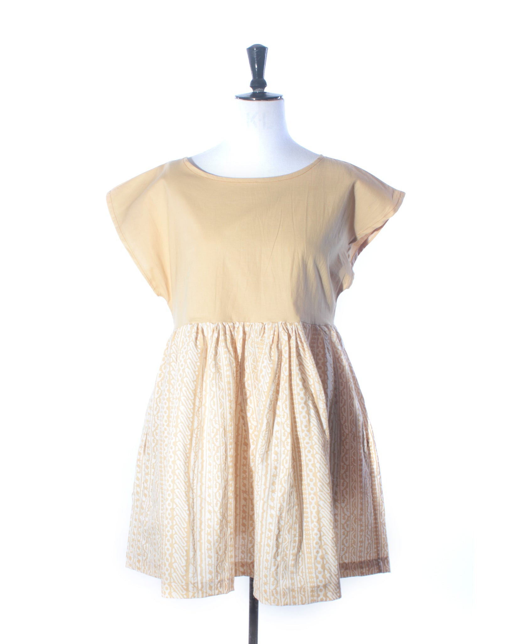Pale Mustard Cotton Squiggle Collector Dress - Size S