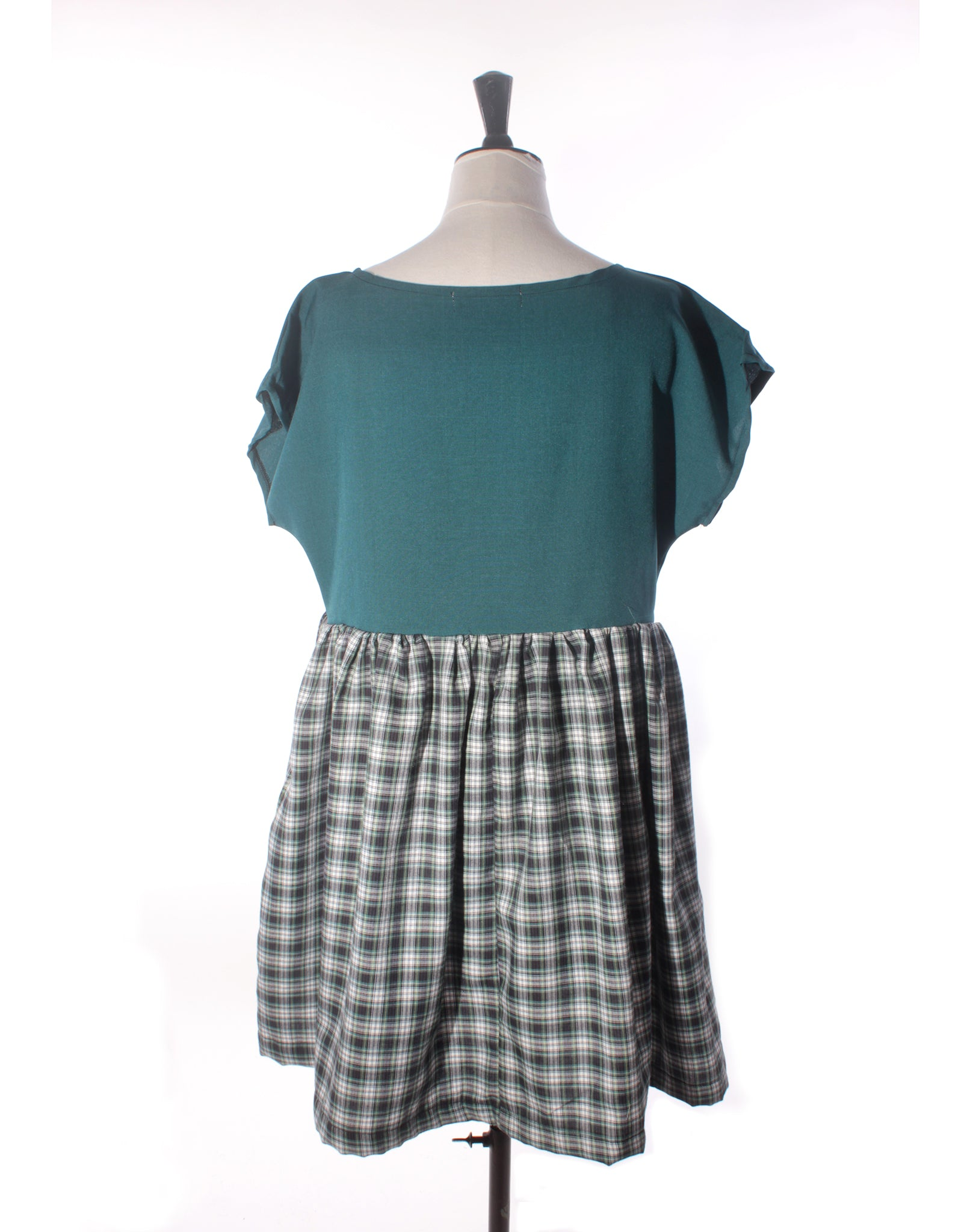 Dark Teal & Tartan Wool Collector Dress - Size M