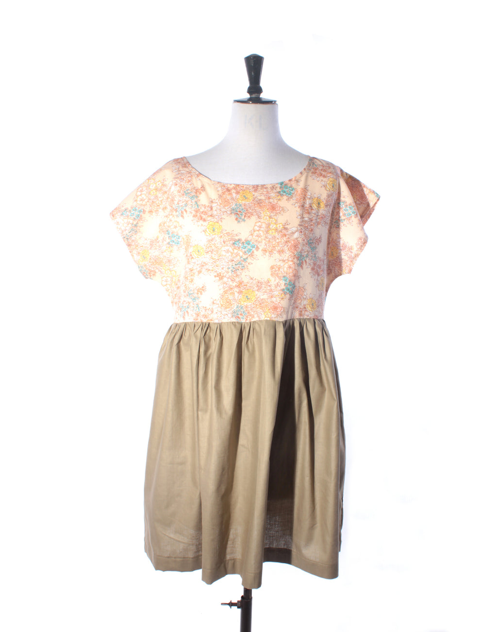 Pink Floral & Sand Cotton Collector Dress - Size M