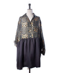 Patchwork Silk & Cotton Linen Collector Dress - Size L