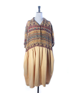 Mustard Tribal Silk & Cotton Collector Dress - Size XXL