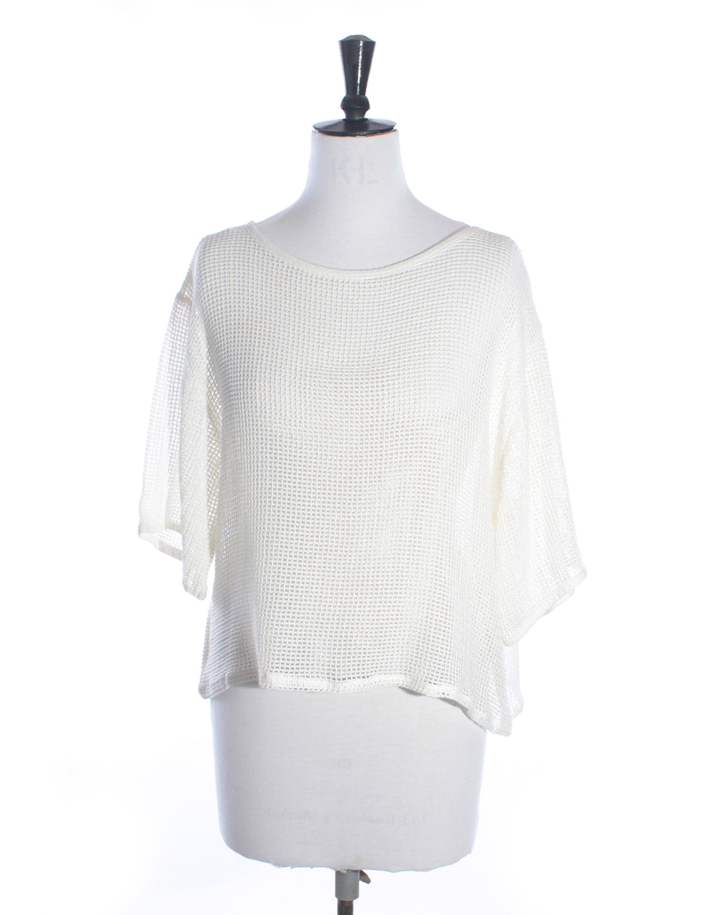 White Mesh Slouch Top