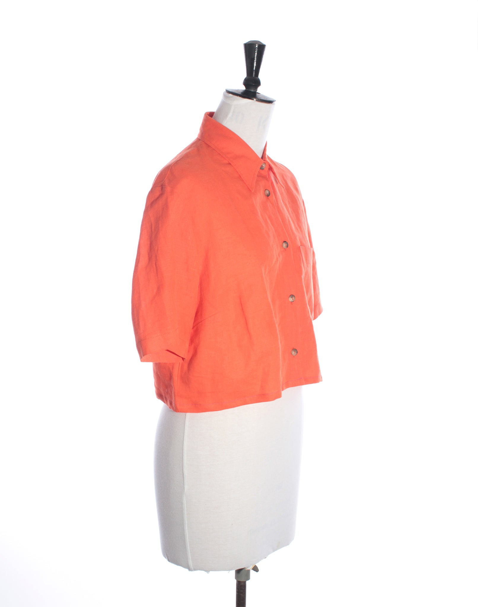 Orange Linen Crop Shirt