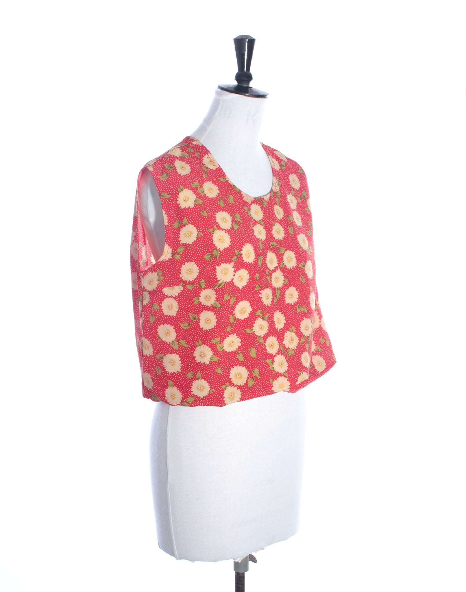 Vintage Red Floral Blouse