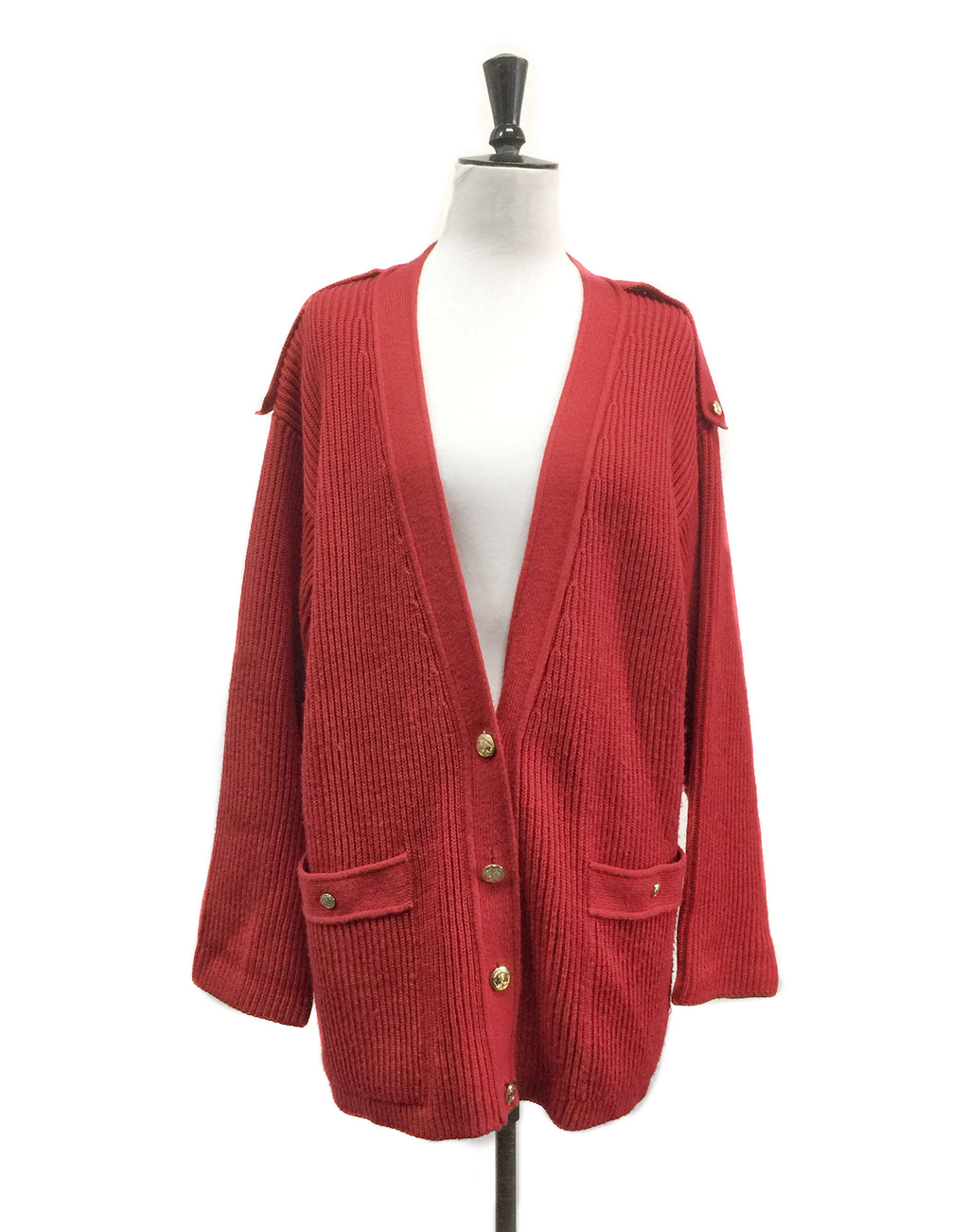VIntage 80's Bleyle Red Ribbed Cardigan