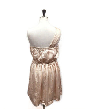 Palest Pink Satin One Shoulder Mini Dress