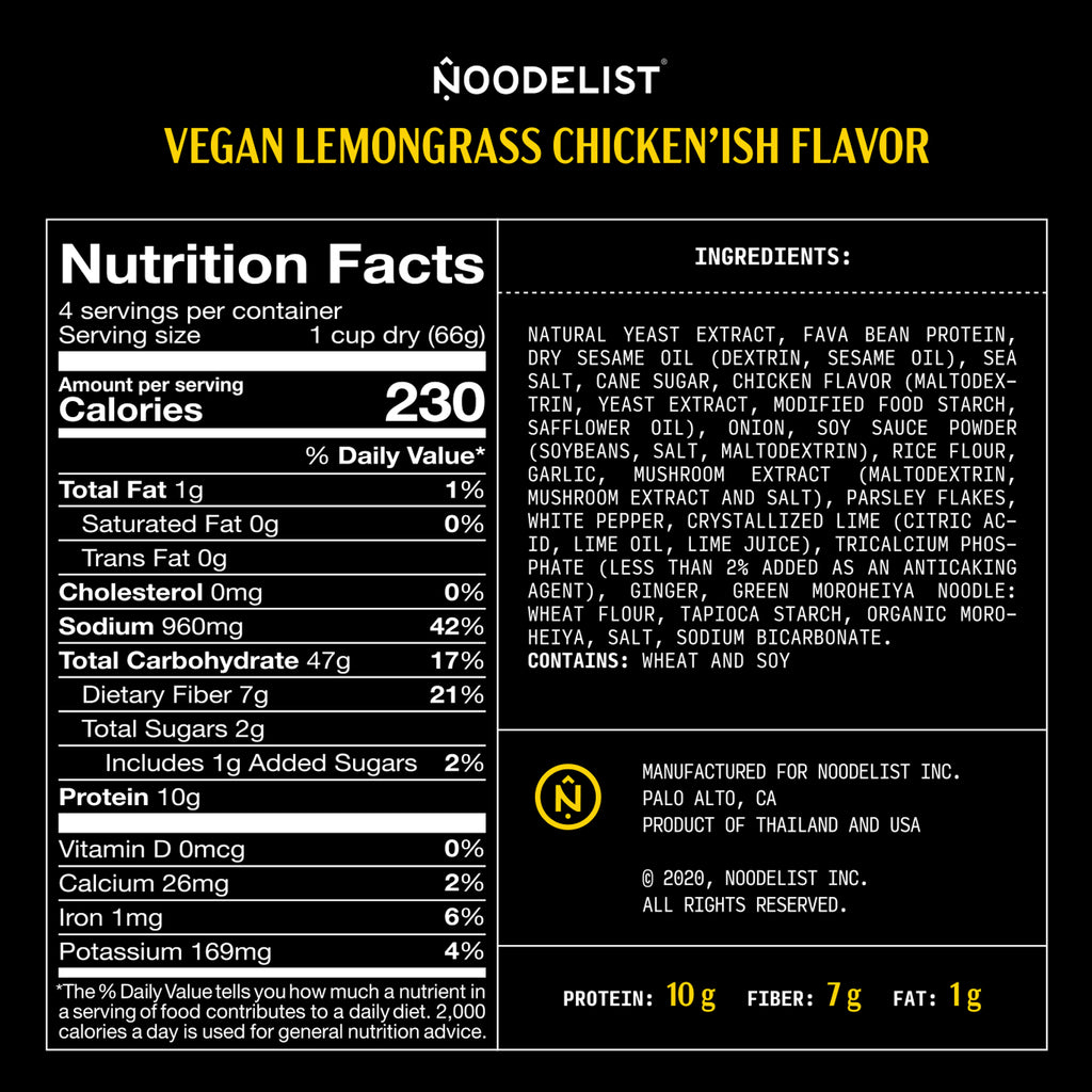Noodelist Lemongrass Vegan Chicken'ish / 4-Pack