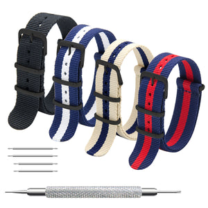 NATO Strap 4/8 Packs - 16mm 18mm 20mm 22mm 24mm Premium Ballistic Nylon Watch Bands Zulu Style with Stainless Steel Buckle