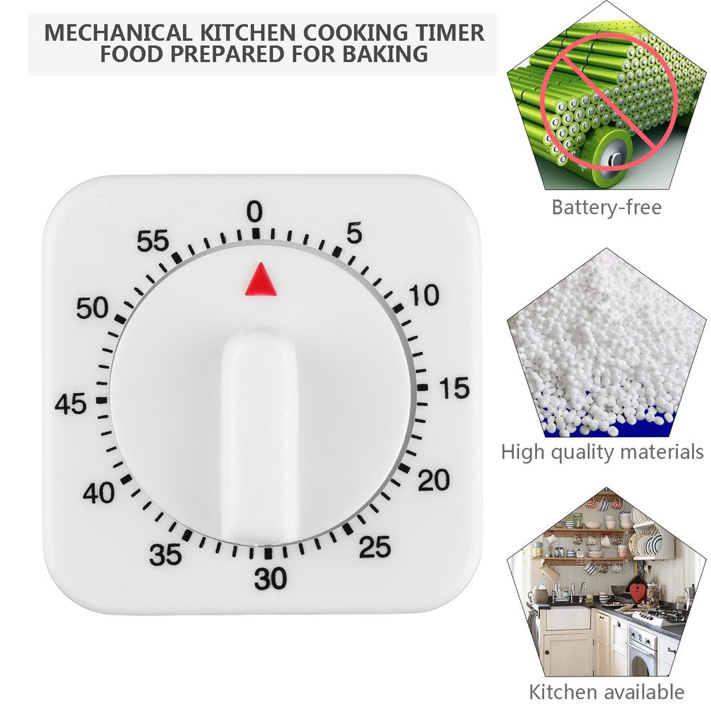 Purshe Newest 1Pc Square Plastic 60 Minute Mechanical Kitchen Cooking Timer Food Preparation Baking Alarm Clock Cooking Tool