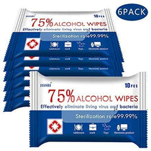 Load image into Gallery viewer, Alcohol Wipes 75% Alcohol Detergent Wipes, Large Wet Wipes Travel for All-Purpose Cleaning (6Pack 60 Wipes)