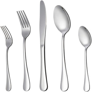 Indowel  20-Piece Silverware Flatware Cutlery Set, Stainless Steel Utensils Service for 4, Include Knife/Fork/Spoon, Mirror Polished , Dishwasher Safe from Indowel