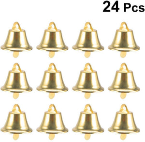 ALARM RUN 24pcs 45mm Jingle Bell Christms Ornaments Door Christmas Tree Hanging Decoration Pendants Christmas Home Holiday Party Decor Wedding Favors (Golden)