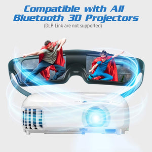 Bustuny 3D Glasses Rechargeable 3D Active Shutter Glasses Compatible with Epson Sony 3D Projector, TDG-BT500A, TDG-BT400A ,TY-ER3D5MA, TY-ER3D4MA, Sony Panasonic Samsung 3D TVs
