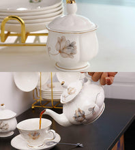 Load image into Gallery viewer, 21-Piece Porcelain Ceramic Coffee Tea Gift Sets, Cups& Saucer Service for 6, Teapot, Sugar Bowl, Creamer Pitcher and 6 Teaspoons.