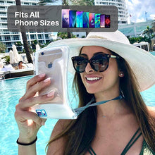 Load image into Gallery viewer, Oilily 100% Waterproof Floating Smart Phone Case & Money Pouch, Fits All Phones, Dual Layer Shock Absorbing, Includes Neck Strap (White)