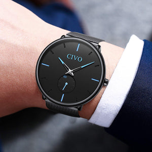 CIVO Mens Black Ultra Thin Watch Minimalist Fashion Wrist Watches for Men Business Dress Waterproof Casual Watch for Man with Stainless Steel Mesh Band